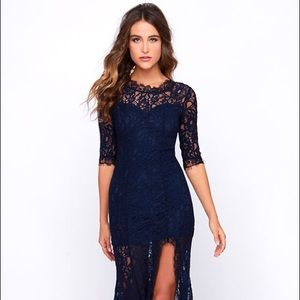Lulus Only One Navy Blue Lace Maxi Dress